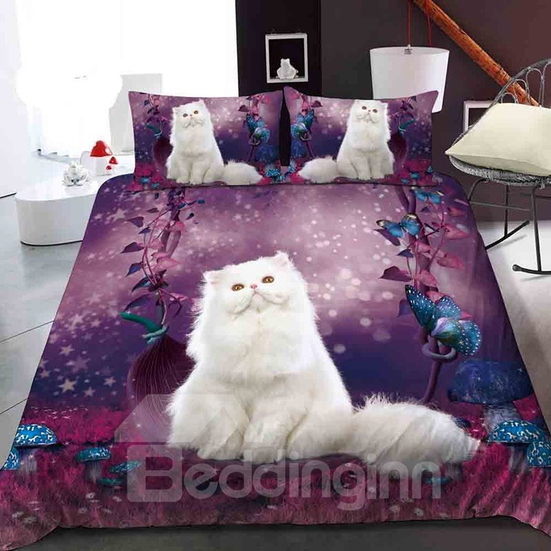 White Ragdoll In The Purple Garden Reactive Printing 1-Piece Polyester Bed Cover / Mattress Cover