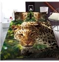 A Leopard In The Jungle Reactive Printing 1-Piece Polyester Bed Cover / Mattress Cover