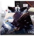 Flying Eagle In Winter Reactive Printing 1-Piece Polyester Bed Cover / Mattress Cover