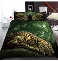 A Lying Leopard In The Forest Reactive Printing 1-Piece Polyester Bed Cover / Mattress Cover