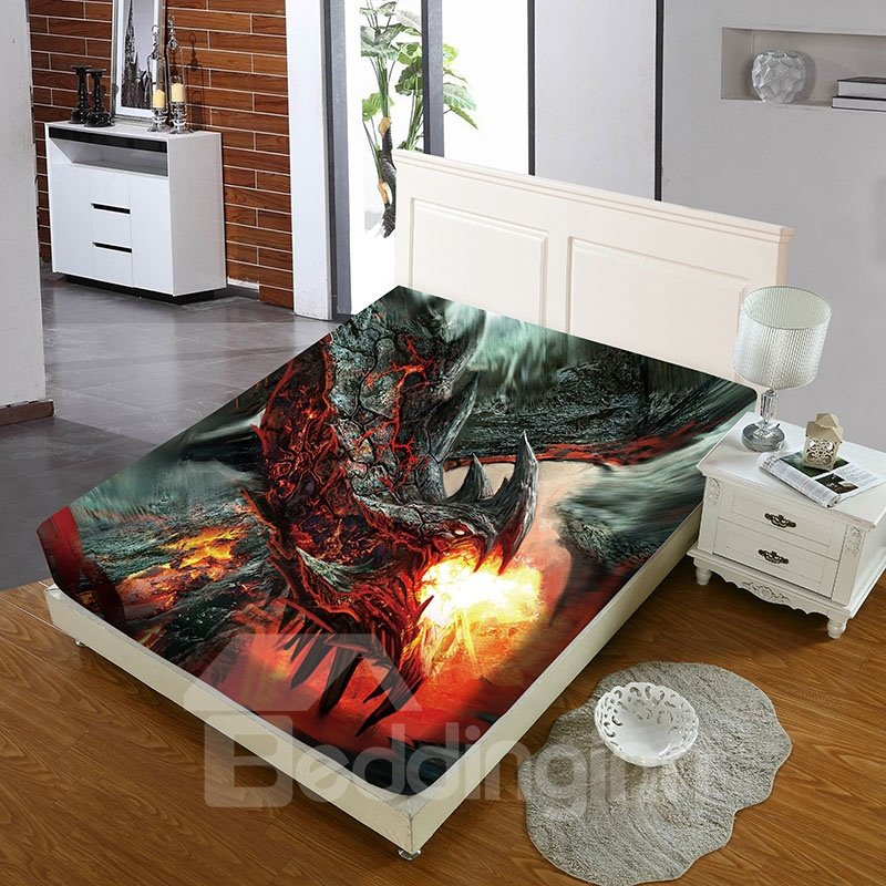 Fire-breathing Dragon Reactive Printing 1-Piece Polyester Bed Cover / Mattress Cover