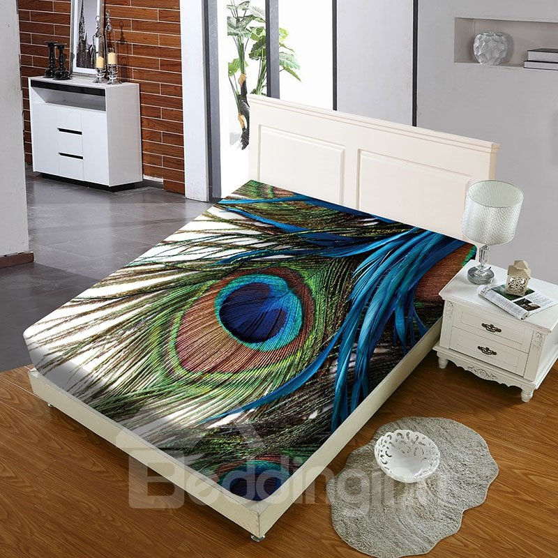 Peacock Feathers Reactive Printing 1-Piece Polyester Bed Cover / Mattress Cover