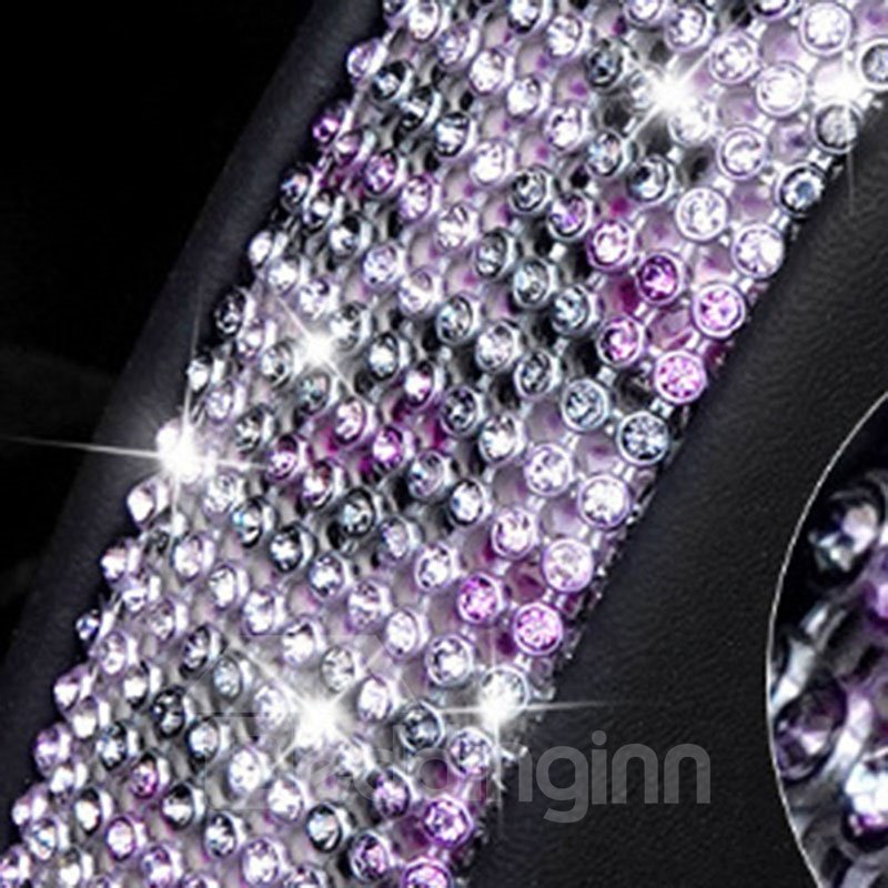Leopard Print Coloured Diamond+PU Material Prevent Slippery And Wear-Resisting Not Hurt The Hands Universal Car Steering Cover