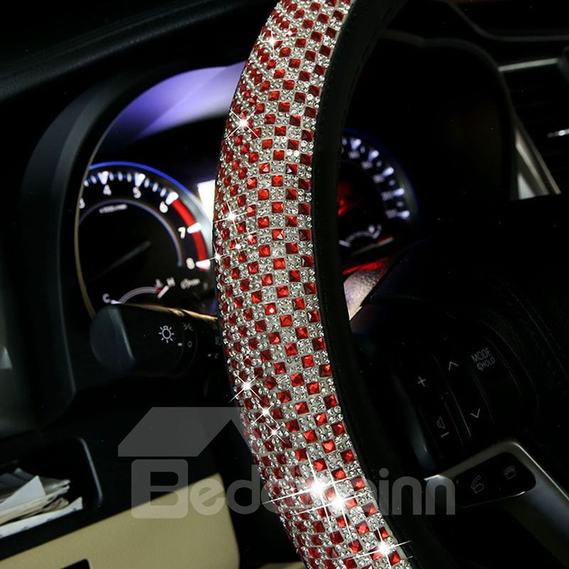 Coloured Diamond+PU Material Prevent Slippery And Wear-Resisting Not Hurt The Hands Universal Car Steering Cover