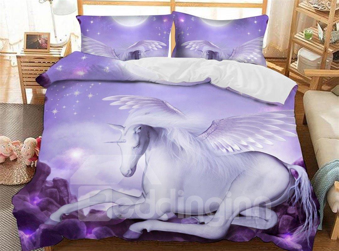 Purple Graceful Unicorn Soft 3D Printed Polyester 3-Piece Bedding Sets/Duvet Covers