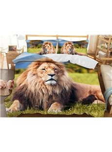 A Lion Resting On The Grass Soft 3D Printed Polyester 3-Piece Bedding Sets/Duvet Covers