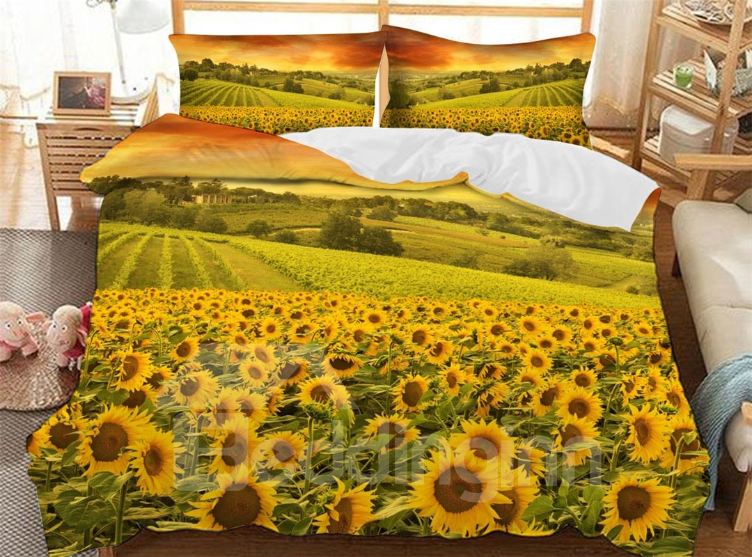 Golden Sunflowers In The Fields Soft 3D Printed Polyester 3-Piece Bedding Sets/Duvet Covers