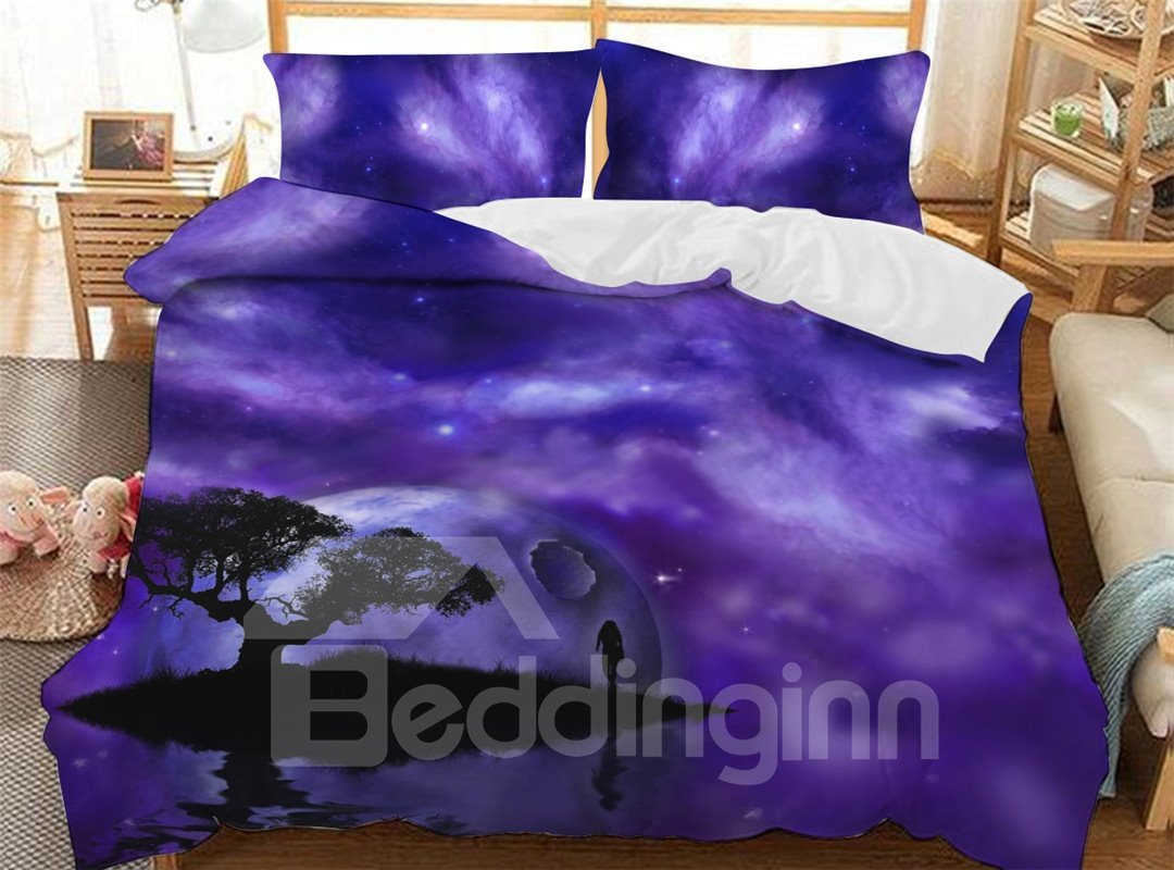 Black Trees Under The Dreamy Purple Sky Soft 3D Printed Polyester 3-Piece Bedding Sets/Duvet Covers