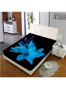 Elegant Blue Lily Reactive Printing 1-Piece Polyester Bed Cover / Mattress Cover