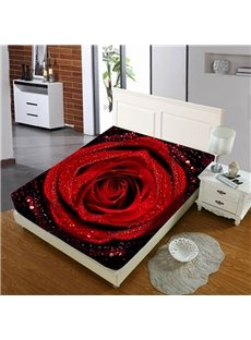 Romantic Red Roses Reactive Printing 1-Piece Polyester Bed Cover / Mattress Cover