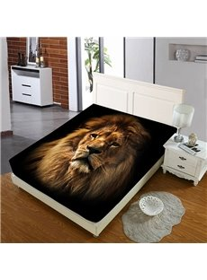 Firm And Persistent Lion's Head Reactive Printing 1-Piece Polyester Bed Cover / Mattress Cover