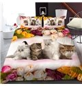Four Kittens Surrounded By Tulips Reactive Printing 1-Piece Polyester Bed Cover / Mattress Cover