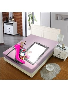 Pink Heels And Makeup Mirrors Female Reactive Printing 1-Piece Polyester Bed Cover / Mattress Cover