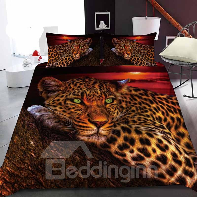 A Leopard on A Tree Watching The Sunset Reactive Printing 1-Piece Polyester Bed Cover / Mattress Cover