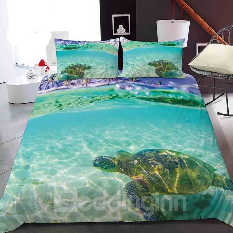 Turtles Swimming In The Shallows Reactive Printing 1-Piece Polyester Bed Cover / Mattress Cover