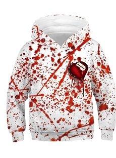 Long Sleeve Round Neck Bleeding Heart Painted Halloween 3D Casual Kid's Hoodies