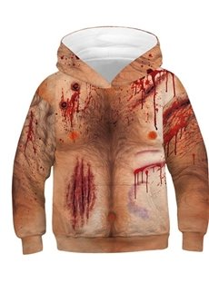 Halloween 3D Painted Open Wound Thick Round Neck Pullover Color Block Pullover Kid's Hoodies