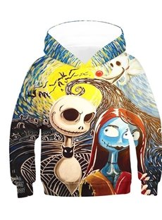 Creative and Colorful Skull 3D Printed Pullover Loose Kid's Hoodies