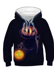 Long Sleeve Pumpkin Lamp Black Pullover 3D Kid's Hoodies