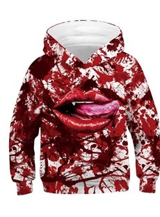 Halloween Red Mouth Full of Blood 3D Painted Long Sleeve Thick Kid's Hoodies