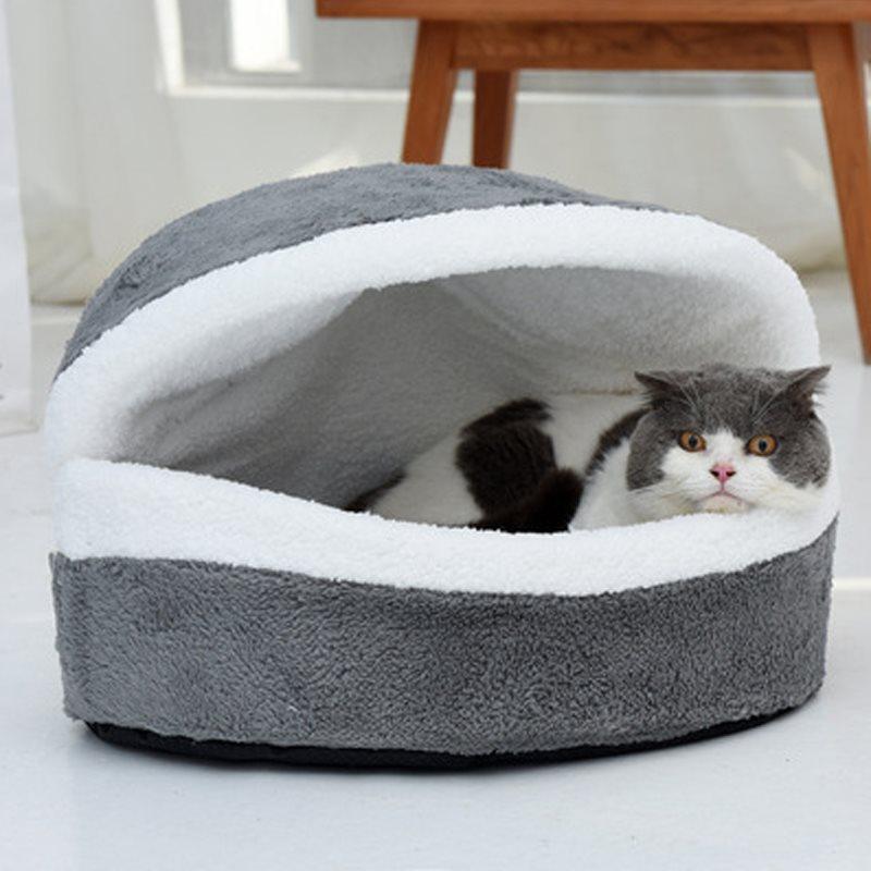 Dorayaki Shape Cats and Dogs Self-Warming Plush Cushion Round Pet Bed