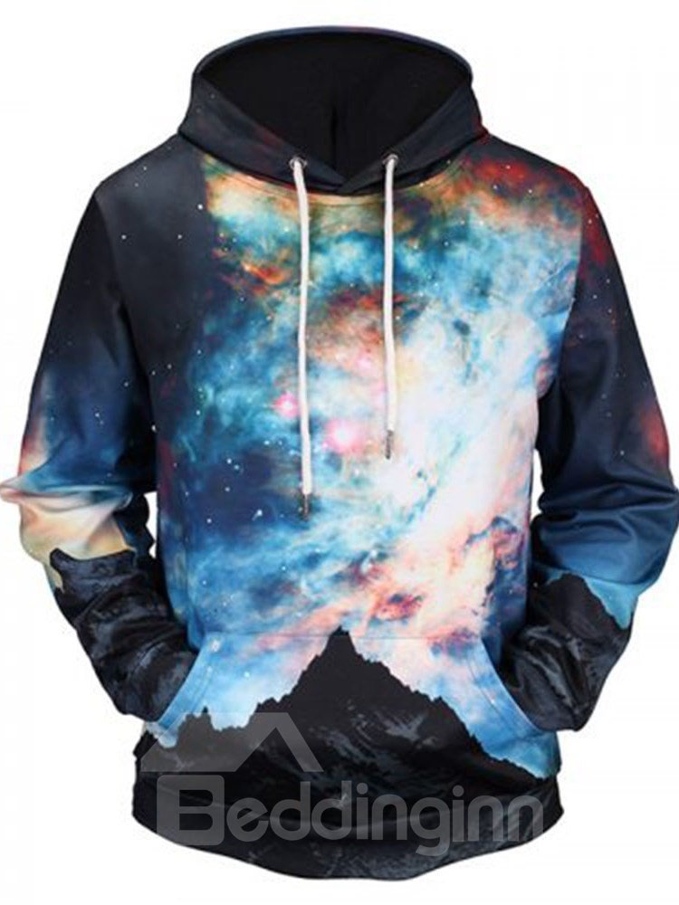Soft Long Sleeve Dream Galaxy Colorful Pattern 3D Painted Men