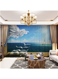 3D Sailboat and Sea Printed 2 Panels Custom Sheer