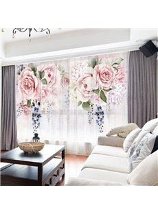 3D European Style Pink Floral Printed Decorative 2 Panels Custom Sheer
