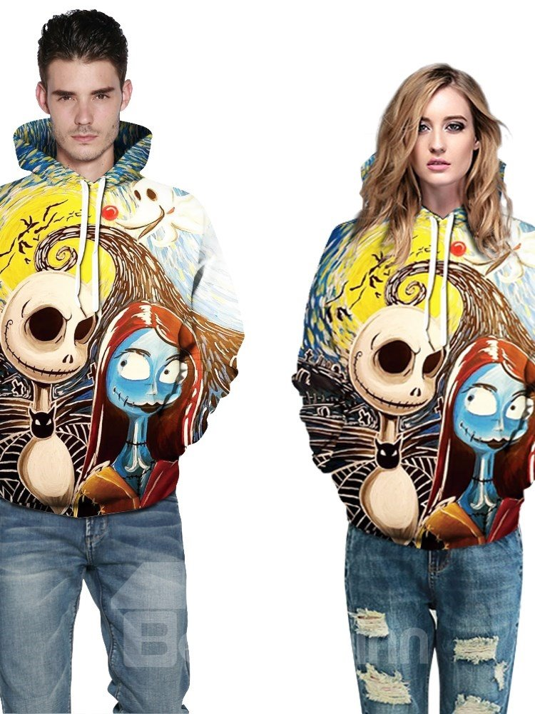 Creative and Colorful Skull 3D Printed Pullover Loose Men