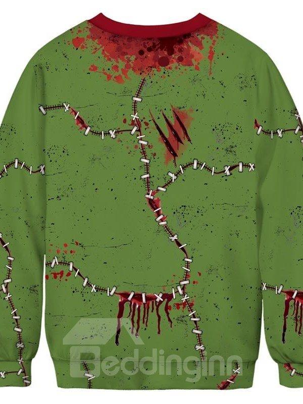 Halloween Long Sleeve Horrible Blood Pattern 3D Painted Round Neck Men