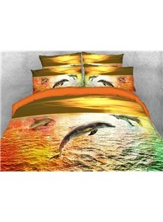 Dolphins Leaping on The Colorful Sea 3D Printed 4-Piece Polyester Bedding Sets/Duvet Covers