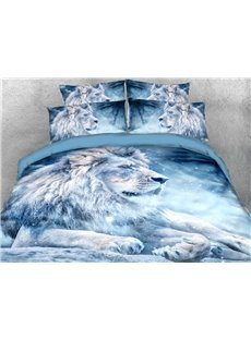 The Lion Looking Far Ahead In The Snow 3D Printed 4-Piece Polyester Bedding Sets/Duvet Covers