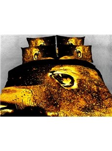 Roaring Lion In The Wind 3D Printed 4-Piece Polyester Bedding Sets/Duvet Covers