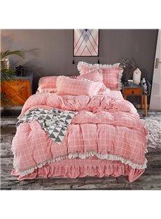 Soft White Plaids And Checks Lace Mink Velvet 4-Piece Pink Bedding Sets/Duvet Cover