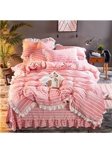 Soft White Stripe And Lace Mink Velvet 4-Piece Pink Bedding Sets/Duvet Cover