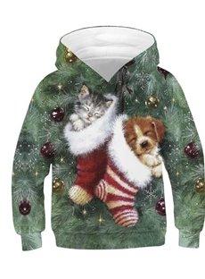 3D Christmas Stocking Sleeping Dog and Cat Printed Long Sleeve Kid's Hoodies Sweatshirts