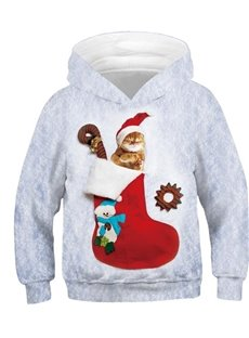 Creative Christmas Stocking and Sleeping Cat 3D Printed Pullover Loose Kid's Hoodies