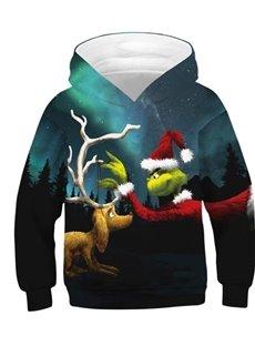 Christmas Cartoon Elk and Fairy Pattern 3D Painted Green Long Sleeve Kid's Hoodie