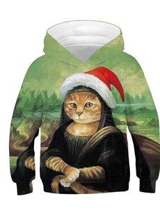 Creative Mon Larissa Funny Cat 3D Printed Pullover Loose Kid's Hoodies