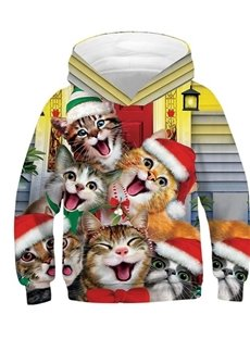 Christmas Happy Cats Pattern 3D Painted Long Sleeve Kid's Hoodie