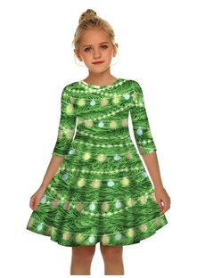 Christmas Lights Printed Gril's 3D Print Short Sleeve Unique Casual Flared Midi Dress