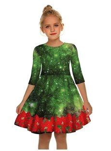 Christmas Green Galaxy and Red Flowers Printed Gril's 3D Print Dress