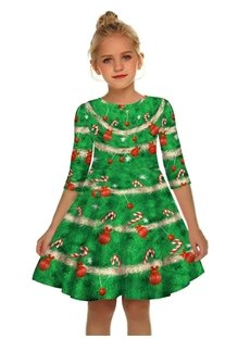 Gril's 3D Print Christmas Crutch Printed Short Sleeve Unique Casual Flared Midi Dress