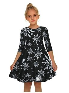 Gril's 3D Print Christmas Style Snow Printed Short Sleeve Unique Casual Flared Midi Dress