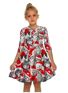 Gril's 3D Print Cats and Red Christmas Hat Printed Short Sleeve Dress