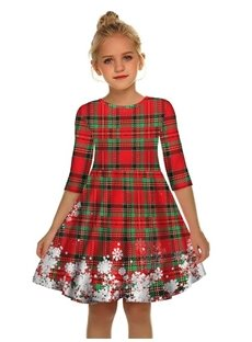 Gril's 3D Print Christmas Style Short Sleeve Unique Casual Checked Dress
