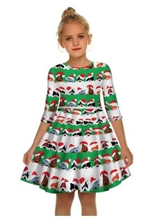 Gril's 3D Print Christmas Style Short Sleeve Unique Casual Flared Midi Dress