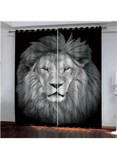 3D Natural Wildness White Lion Printed Blackout Animal Print Curtains