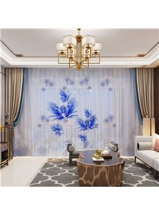 3D Chinese Style Elegant and Decorative Sheer with Blue Floral Epiphyllum Image