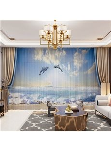 3D Nordic Style Blue Sea and Lively Dolphin Printed 2 Panels Decorative Custom Sheer